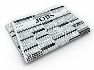 Search job. Newspaper with advertisments on white isolated background. 3d