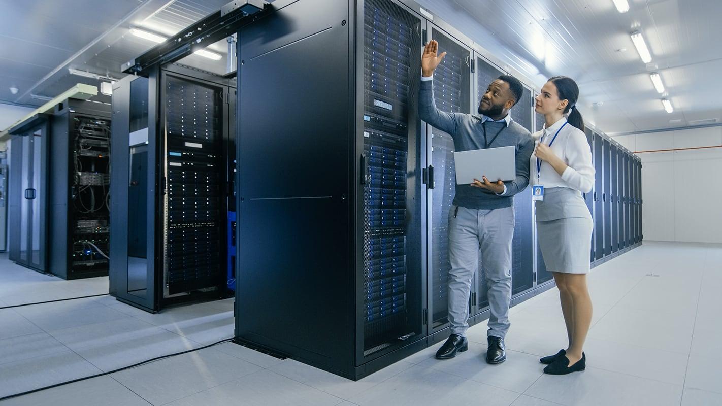 IT professionals in server room